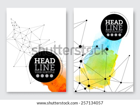 Vector Poster Design Template Business Abstract Background With Triangles Grid And Watercolor Stains Flyer