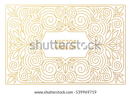Vector poster design template, wedding invitation and greeting card with copy space for text or title in trendy linear style and golden colors - vintage background for cover, advertising, packaging