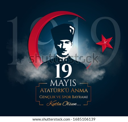 Vector poster design to commemorate the landing of Mustafa Kemal at Samsun on May 19, 1919 beginning the Turkish war of Independence. Translation: Commemoration of Ataturk, Youth and Sports Day.