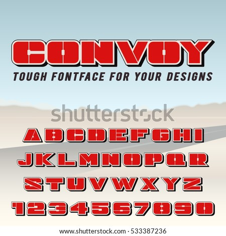 Vector Poster Font. Condensed typeface, bold letters and digits with shadow.