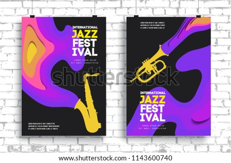 Vector poster for a jazz festival live music with a saxophone in modern style. Applicable for Banners, Placards, Posters, Flyers. Eps 10 Vector template