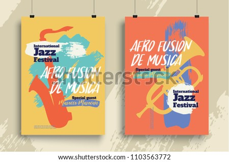 Vector poster for a jazz festival live music with a saxophone in retro style. Applicable for Banners, Placards, Posters, Flyers. Eps 10 Vector template