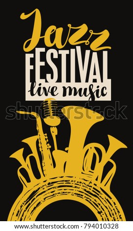 Vector poster for a jazz festival live music with yellow silhouettes of saxophone, wind instruments, microphone and vinyl record in retro style on black background