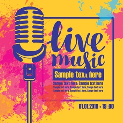 Vector poster for a live music concert with a microphone and place for text on background of colored spots