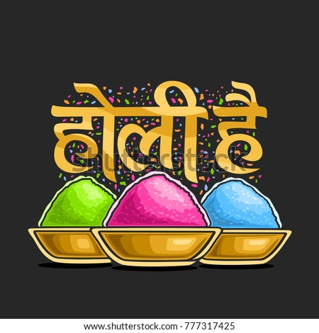 Vector poster for Indian Holi Festival, colorful logo for traditional holiday holi in India, fun hindu festival of colours, decorative font for words holi hai in hindi, bowls with bright gulal powder.