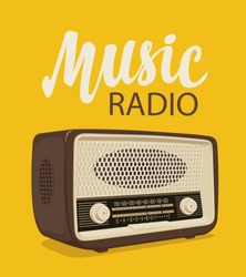 Vector poster for radio station with an old radio receiver and inscription Music radio on the yellow background. Radio broadcasting banner. Suitable for advertising, banner, poster, flyer