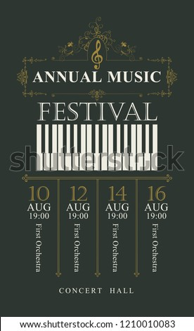 Vector poster for the annual festival of classical music in vintage style with piano keys and treble clef on the black background
