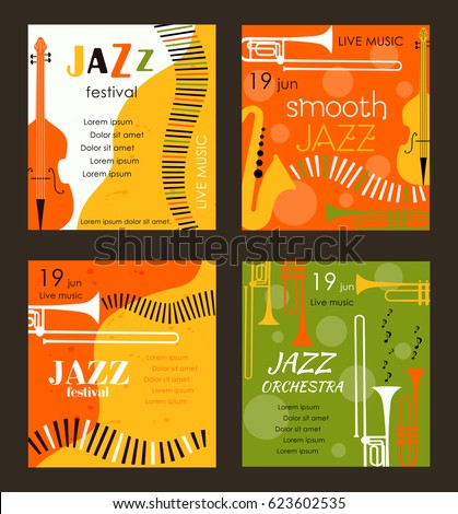 Vector poster for the jazz festival with music instruments. Perfect for music events, jazz concerts.