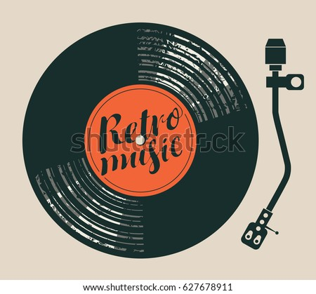 Vector poster for the retro music with vinyl record, record player and handwriting lettering