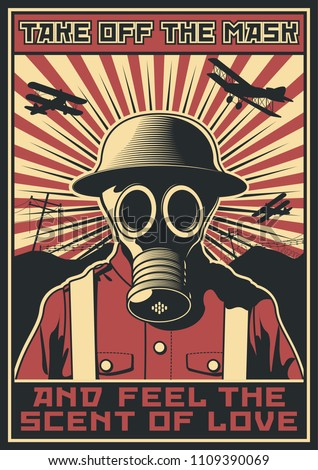 vector poster gas mask world