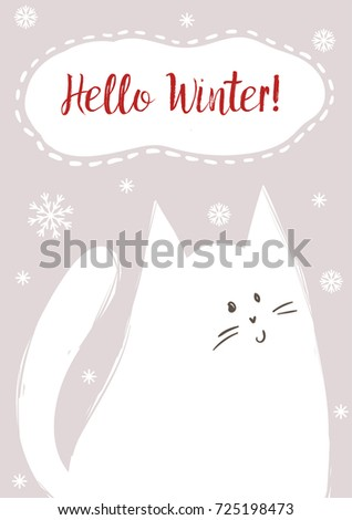 vector poster hello winter with