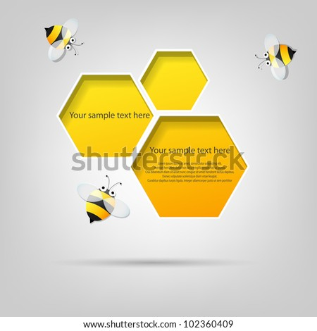 Vector poster. honeycomb and the bees - stock vector