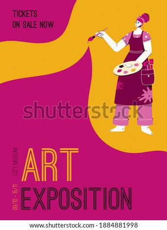 Vector poster of Art Exposition at City Museum concept. Artist holding color palette and paintbrush. Invitation design at exhibition of modern gallery. Character illustration of advertising banner Photo stock ©