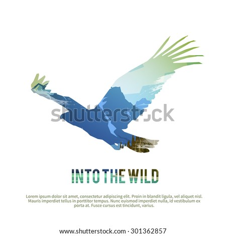 Vector poster on themes: wild animals of Canada, survival in the wild, hunting, camping, trip. Hawk.