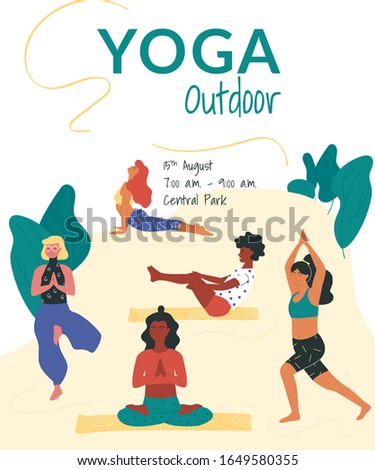 Vector poster template with women taking such yoga poses as navasana - boat pose, bhujangasana - cobra pose, virabhadrasana - warrior pose, vriksasana - tree pose and meditating in burmese position.