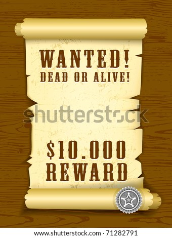 vector poster wanted dead or