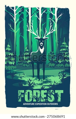 vector poster with a deer in