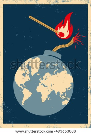 vector poster with bomb and