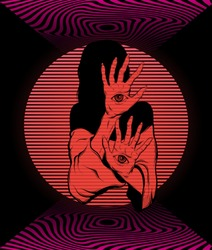 Vector poster with hand drawn surreal illustration of fortune teller with eyes on her hands made in vaporwave style. Template for card, banner, print for t-shirt, pin, badge, patch.