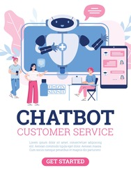 Vector poster with medical chatbot, robot on screen for service and support patients. People use technology of future receive consultation treatment or buy medication online.