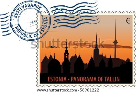 vector postmark with tallinn