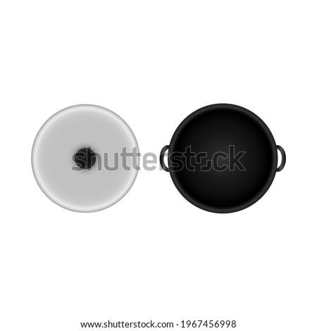Vector pot pan with transparent glass lid  top view Stockfoto ©