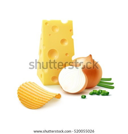 Vector Potato Ripple Crispy Chips with Cheese and Onion Close up Isolated on White Background