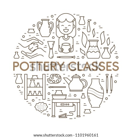Vector Pottery workshop banner template. Line icons of hand building, sculpturing equipment. Circle shape illustration