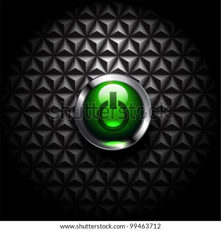Vector power button on black mosaic background