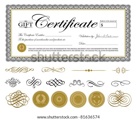 Vector Premium Certificate Template and Ornaments Easy to edit Perfect for gift certificates and other awards.