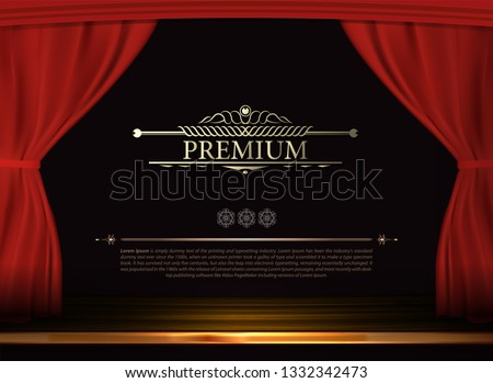 Vector Premium red curtains in theater or opera. Dark red curtain scene gracefully for text. Elegance vector backdrop for poster. Classic podium