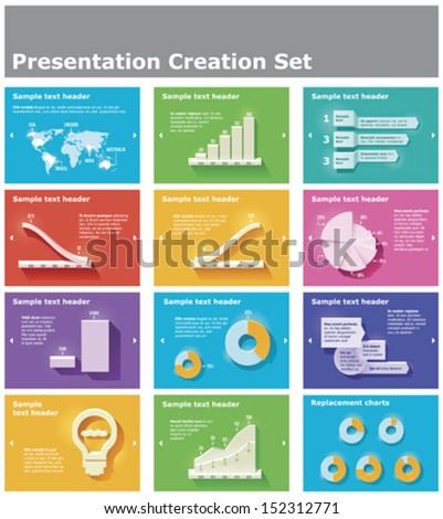 Vector presentation or infographic elements - bar and pie charts, graphs, World map