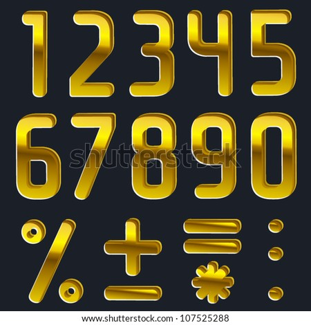 Vector pressed gold font, numbers, digits