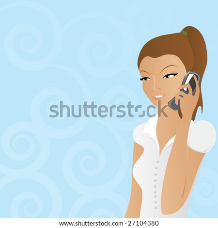 Vector pretty business woman talking over the cellphone