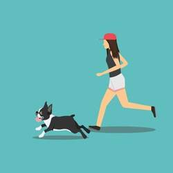 Vector pretty girl running with a dog