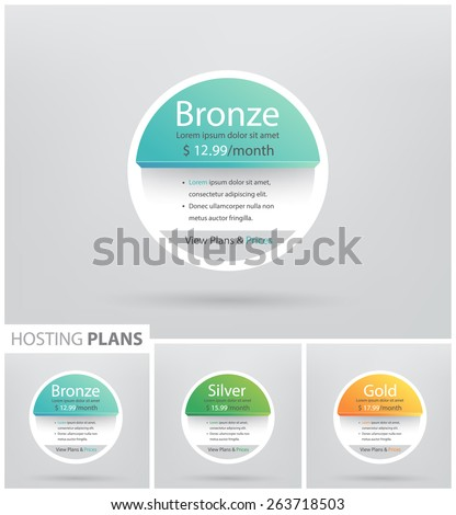 Vector price,plane table for commercial websites and applications templete. Hosting banner. Vector illustration.