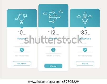 vector price table template design