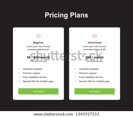 Vector pricing table template design #1345927553