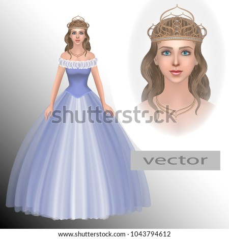 vector princess in tiara