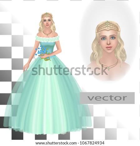 vector princess in tiara with