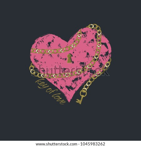 Vector print heart for female t-shirt. Design for screen-printing press, four colour print. Stylized word