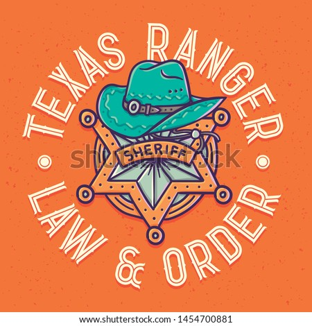 Vector print of a sheriff star and a hat with lettering composition