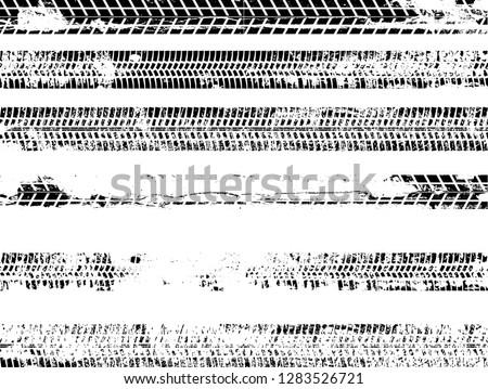 Vector Print Textured Tire Track . Design Element .Bike tread silhouette #1283526721