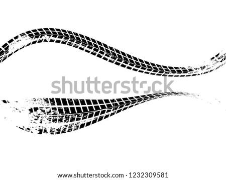 Vector Print Textured Tire Track . Design Element . Car thread silhouette