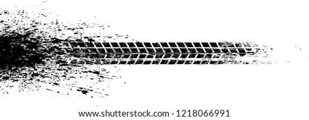 Vector Print Textured Tire Track . Design Element . Car thread silhouette . Mud splash grunge texture