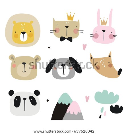 Vector print with cute animal. Bunny, bear, tiger, fox, cat, lion, dog and panda