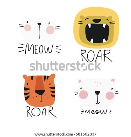 vector print with cute animal