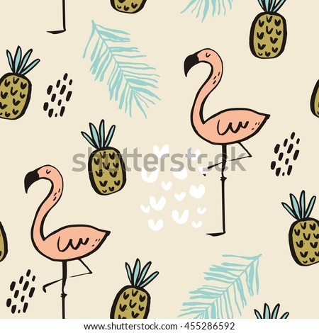 vector print  with pink flamingo