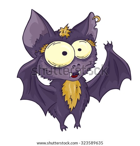 vector printable hand drawn cute cartoon bat. Can be used as a decor for gift card, poster, invitation card Stock photo ©