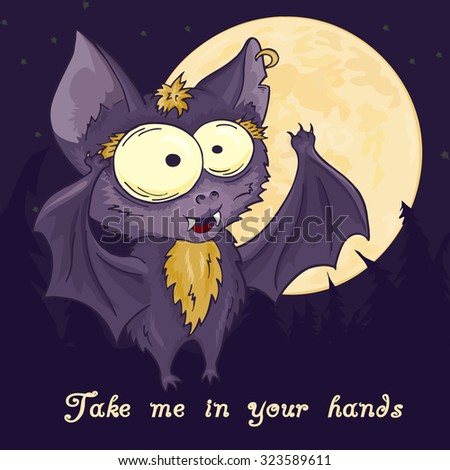 vector printable hand drawn cute cartoon bat full moon and pine forest on the background. Can be used as a decor for gift card, poster, invitation card Stock photo ©